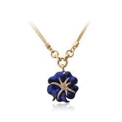 Gold Crystal Rhinestone Navy Blue/Red Sea Starry night Flower Necklace