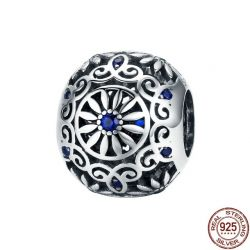 925 Sterling Silver Intricate Lattice Openwork Ball With Clear CZ