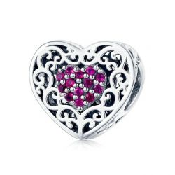 925 Sterling Silver Vintage Heart Shape Love Beads Fit Charms