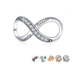 Infinity Family Forever Clear Crystal Charm for Original 925