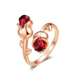 Garnet Red Rose gold toned Rose ring for Womens
