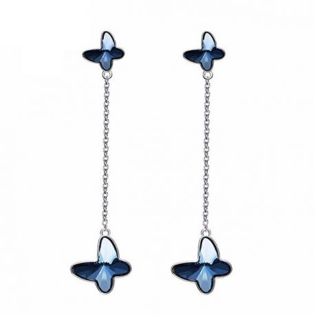 S925 Sterling Silver Blue Crystal from Swarovski Butterfly Long Drop Earrings