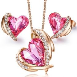 Valentine's Day Gift Crystals from Swarovski Pink Heart Jewelry Set