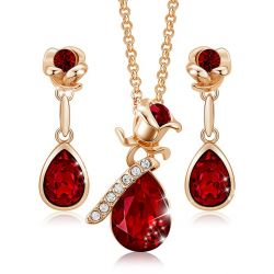 Rose gold toned Rose shape crystal jewelry set for Girls