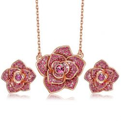 Embellished With Pink Crystals from Swarovski Rose Flower  Fashion Jewelry