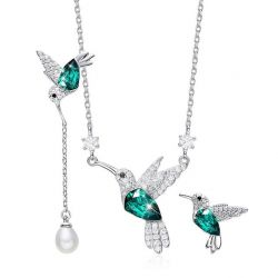 Green Crystals from Swarovski Hummingbird S925 Silver Set