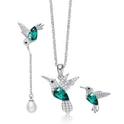 Hummingbird S925 Silver Set Green Crystals from Swarovski