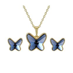 Gold toned Butterfly Fashion set swarovski crystal