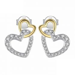 Solid silver Infinity love Heart Stud earrings