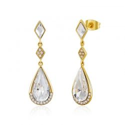 S925 Sterling Sliver Water Drop Swarovski Crystal Gold Toned Earring