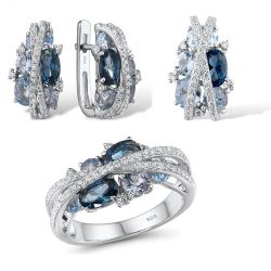 S925 Silver Jewelry Set Sparkling Blue Spinel Earrings,Ring,Pendant