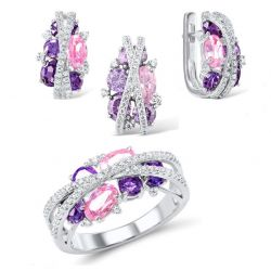 Silver Sparkling Purple Amethyst Pink Cubic Zirconia Earrings Ring Pendant Set