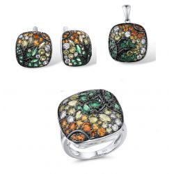 Geometric Square Sparkling Colorful Stones Silver Jewelry Set