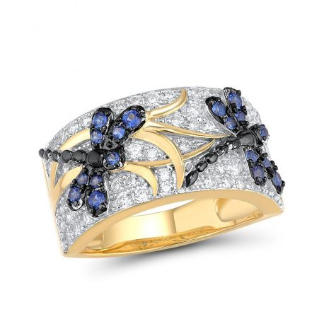 Blue Dragonfly Handmade S925 Silver Jewelry Ring