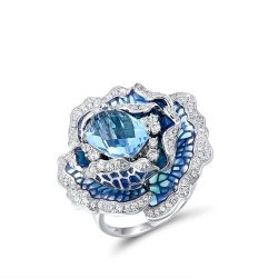 Pure 925 Sterling Silver Elegant Blue Blooming Flower Ring