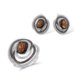 Genuine 925 Sterling Silver Sparkling Brown Smoky Ring Earrings Set