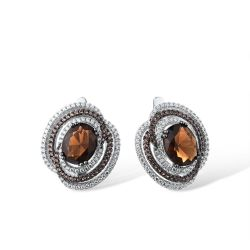 Genuine 925 Sterling Silver Sparkling Brown Smoky Earrings