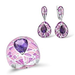 Silver  For Women Purple Stone Dazzling CZ Earrings Ring Set