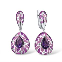 Silver Jewelry For Women Purple Stone Earring