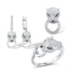 Panther S925 Sterling Silver Ring Earrings Pendant Set
