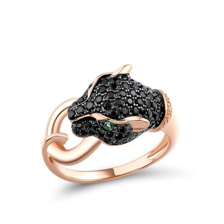 Black Green Spinel Black Panther 925 Sterling Silver Fine Jewelry Ring