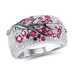 Greated Ruby Tree SIlver jewelry Ring for Women