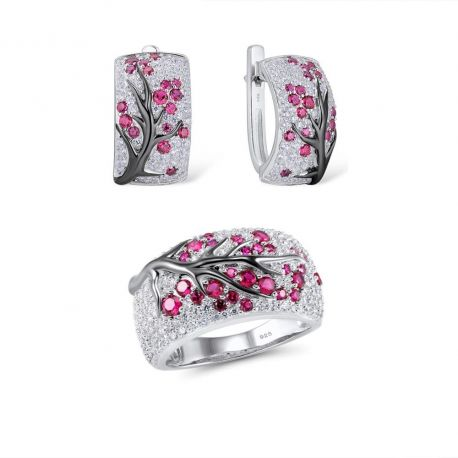 Greated Ruby Tree SIlver jewelry set for Women