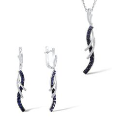 Silver jewelry set blue and white cubic zircon