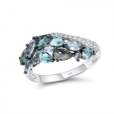 Blue Stone Elegant design 925 Silver Jewelry  Ring for women