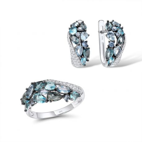 Blue Stone Elegant design  925 Silver Jewelry for women