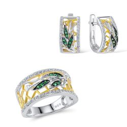 Green Spinel White Zircon Gold Toned Silver Jewelry