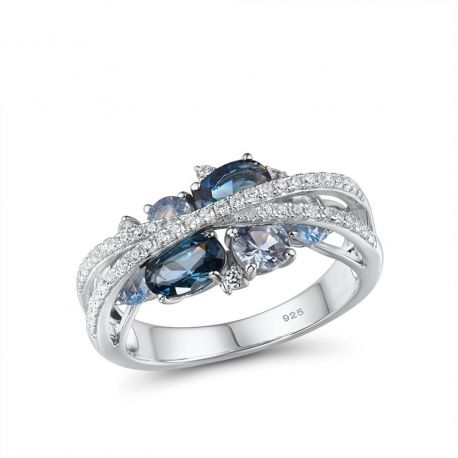 S925 Silver Jewelry Sparkling Blue Spinel Ring