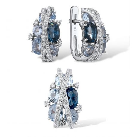 S925 Silver Jewelry Set Sparkling Blue Spinel Earrings Pendant
