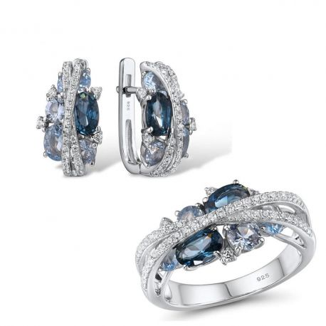 S925 Silver Jewelry Set Sparkling Blue Spinel Earrings & Ring