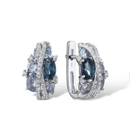 S925 Silver Jewelry Sparkling Blue Spinel Earrings