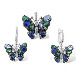 Big Blue Butterfly Silver Jewelry Set for Girls