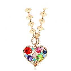 Austrian Rhinestone Rose Gold Plated Heart Pendant Beautiful Flower Chain necklace