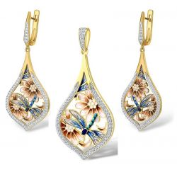 Blue dragonfly Gold Plated Silver Jewelry set Pendant Earrings