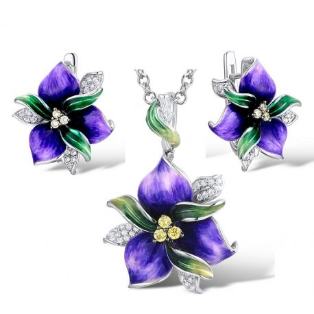 Spring First Purple  flower Silver Jewelry set
