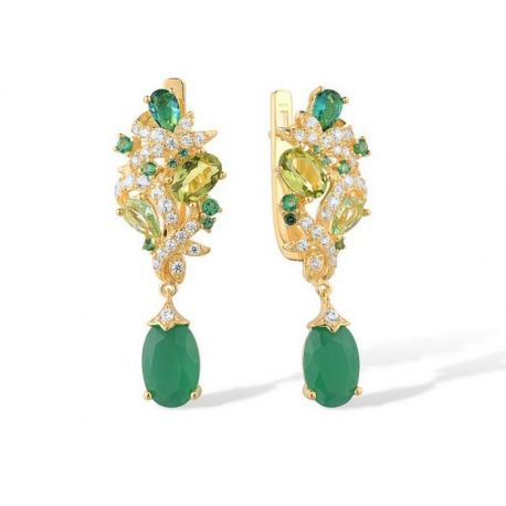 Gold plated Green zirconia Silver Earring