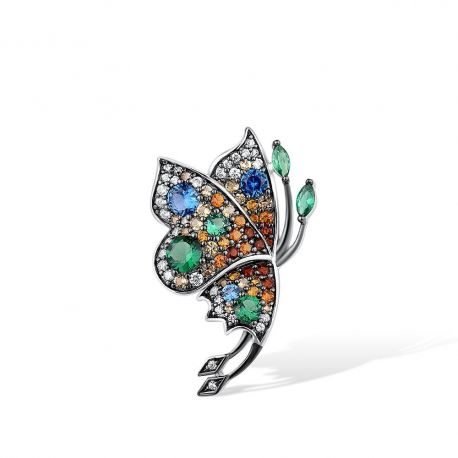 Genuine 925 Sterling Silver Delicate Butterfly Sparkling Colorful Stones Pendant