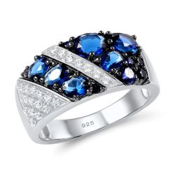 Blue Nano Cubic Zirconia Ring For Women 925 Sterling Silver