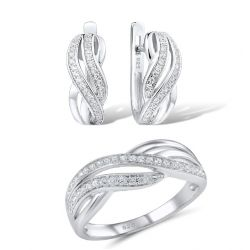 White Zirconia Sterling Silver Jewelry set for women