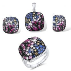 Sterling Silver Dazzling Pink Blue Stones Square Pendant Earrings Ring Set
