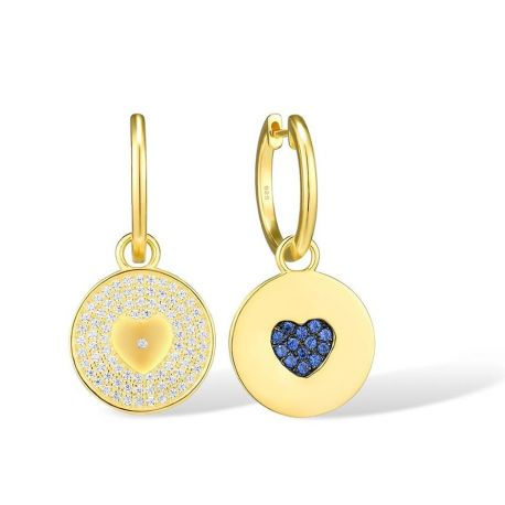 Pure 925 Sterling Silver Gold Color Heart Concise Round Drop Earrings