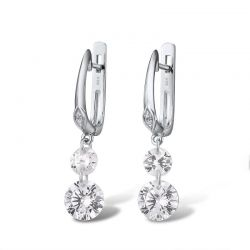 925 Sterling Silver Sparkling White Cubic Zirconia Drop Earrings