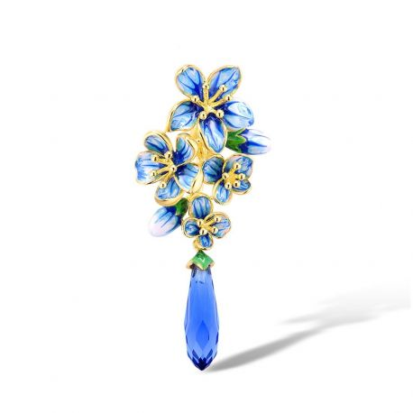 Blue Flower Gold Plated Sterling silver Pendant