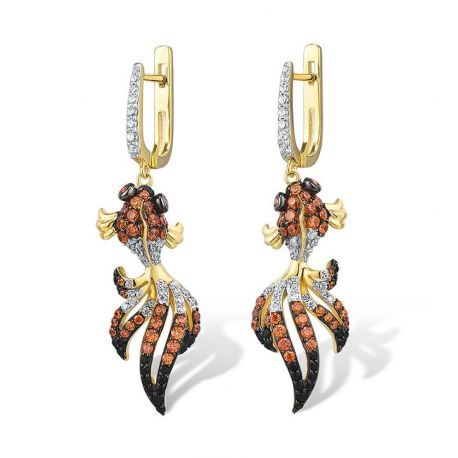 Cute Gold Fish Solid Silver Earring for Girls