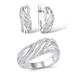 White Cubic Zirconia  Sterling Silver Ring Earrings Set