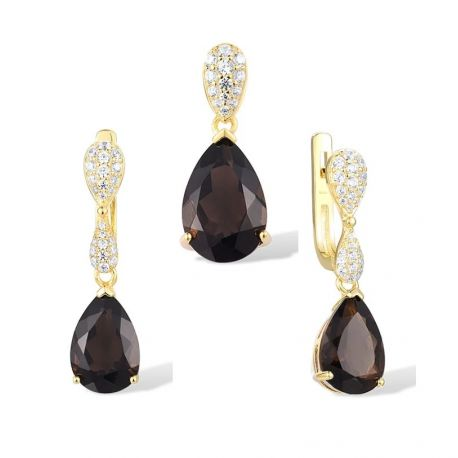 Purple and Smoky Quartz Gold toned Sterling Silver Jewelry set